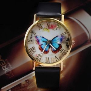 Fashion Butterfly Leather Quartz Girl Women Ladies